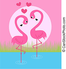 flamigo couple - a flamingo couple in love