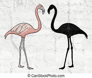 flamingó, árnyék