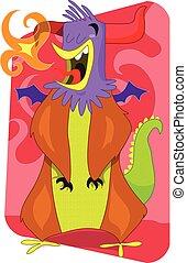 Flaming alien monster rooster cartoon illustration