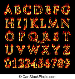 Flaming Alphabet and Numbers - A set of fiery flaming...