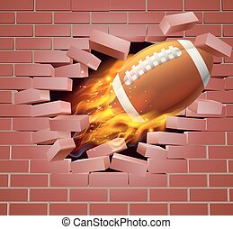 Flaming American Football Ball Breaking Through Brick Wall