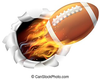 Flaming American Football Ball Tearing a Hole in the...