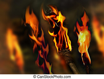 Flaming background - Background of burning torches