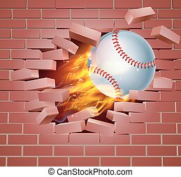 Flaming Baseball Ball Breaking Through Brick Wall