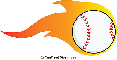 Flaming Baseball Ball  Illustration Isolated on white