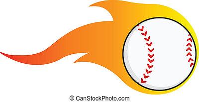 Flaming Baseball Ball  Illustration Isolated on white