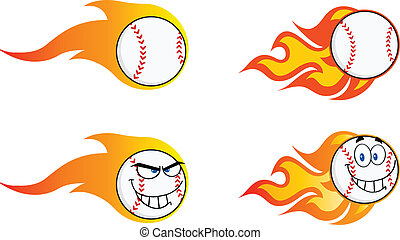 Flaming Baseball Balls  Collection