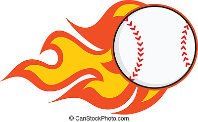 Flaming Baseball  Illustration Isolated on white