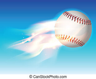 An illustration of a flaming baseball flying through the sky. Vector EPS 10 available. EPS contains transparencies and gradient mesh.