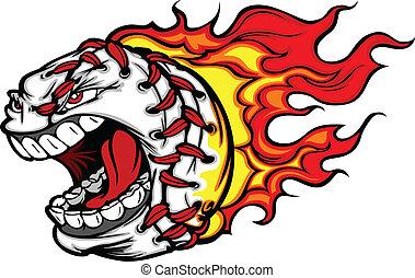 Cartoon Vector Image of a Flaming Baseball with Angry Face