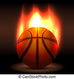 Flaming basket ball waiting for a game