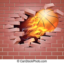 Flaming Basketball Ball Breaking Through Brick Wall