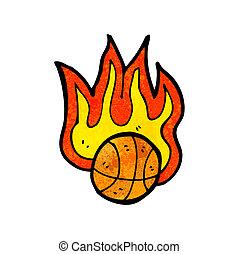flaming basketball cartoon