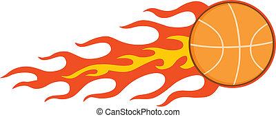 Flaming Basketball. Illustration Isolated on white