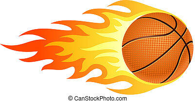 Flaming basketball - Illustration of ball in fire for your...
