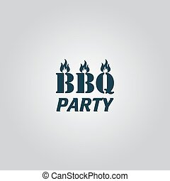 Flaming BBQ Party word design element. Flat web icon or sign...