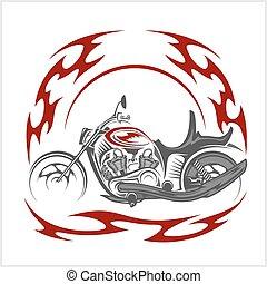Flaming Bike - Retro Chopper and tribal flame
