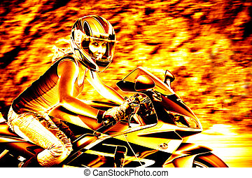Flaming Biker Girl - A woman in action driving a motorcycle...