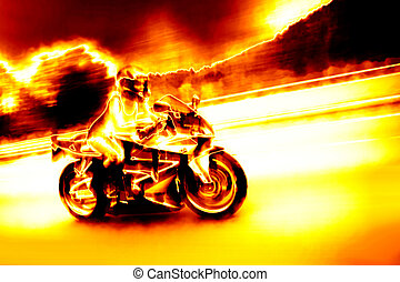 Flaming Biker Girl