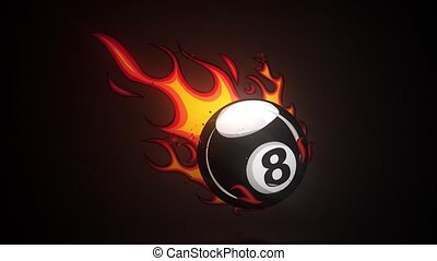 Flaming Billiards Eight Ball Cartoon burning with Fire ...