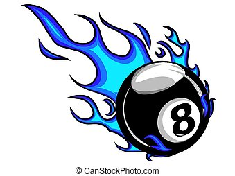 Flaming Billiards Eight Ball Vector Cartoon burning with Fire Flames