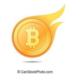Flaming bitcoin symbol, icon, sign, emblem. Vector illustration.