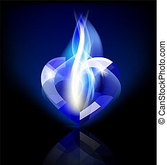 flaming blue heart-crystal