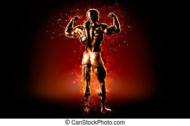 Flaming bodybuilder posing over black background. 3D illustration