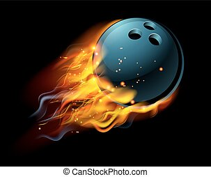 Flaming Bowling Ball - A flaming Bowling ball on fire flying...