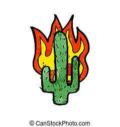 flaming cactus cartoon