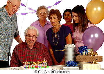 Flaming Cake - Eighty-plus year-old man celebrating his...