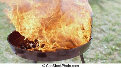 Flaming charcoal briquettes in a BBQ - Flaming charcoal...