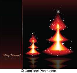 Flaming Christmas red trees. Vector