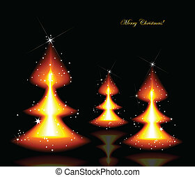 Flaming Christmas trees. Vector background