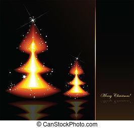 Flaming Christmas trees. Vector