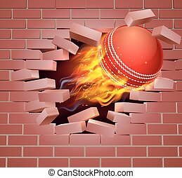 Flaming Cricket Ball Breaking Through Brick Wall