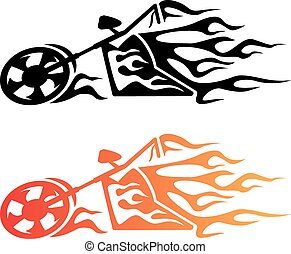 Flaming Custom Chopper Motorcycle L - Hot looking flaming...