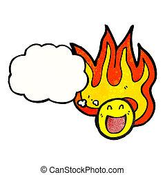 flaming emoticon face cartoon