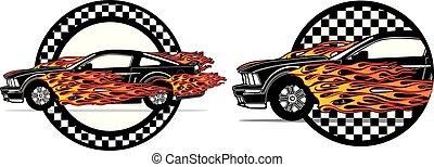 Flaming Fast Ford Mustang Badge Set