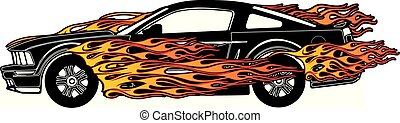 Flaming Fast Ford Mustang Vector