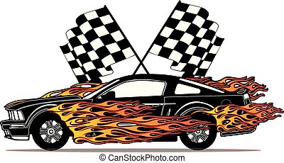Flaming Fast Ford Mustang with Flags Vector