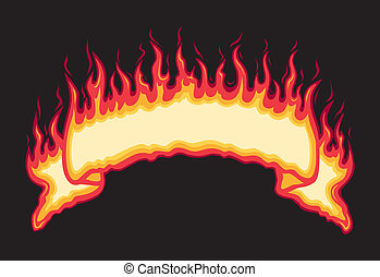 Flaming Fire Banner - Five spot color illustration on black...