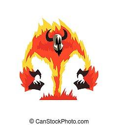 Flaming Fire Devil, Demonic Infernal Creature Cartoon Character Vector Illustration