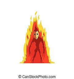 Flaming Fire Devil, Fantasy Mystic Creature Cartoon Character Vector Illustration