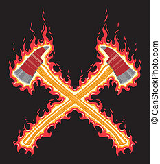 Illustration of flaming firefighter axes. The seven color vector art can be easily edited or separated for print or screen print. Each major element is on a separate layer for your convenience.