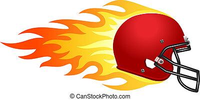 Flaming football helmet.