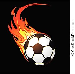 flaming football soccer ball vector