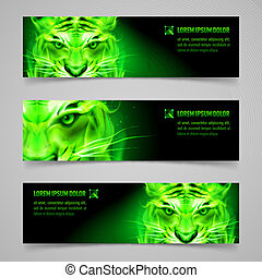 Flaming force - Set of banners with mystic tiger in green...