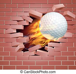 Flaming Golf Ball Breaking Through Brick Wall