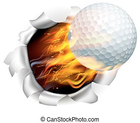 An illustration of a burning flaming golf ball on fire tearing a hole in the background